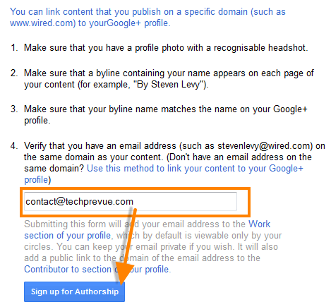 Google Authorship custom domain email verification
