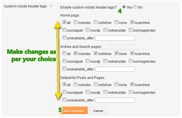 Custom Robots Header Tags Management in Blogger - Screen 2
