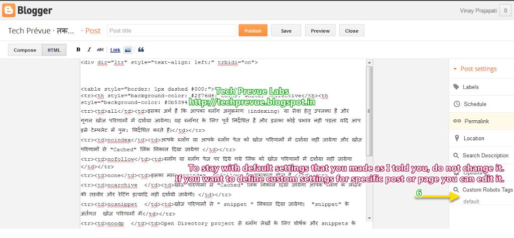 Custom Robots Header Tags Management in Blogger - Screen 3
