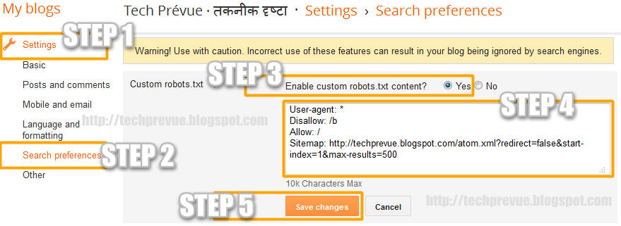 Manage Blogger Custom robots.txt
