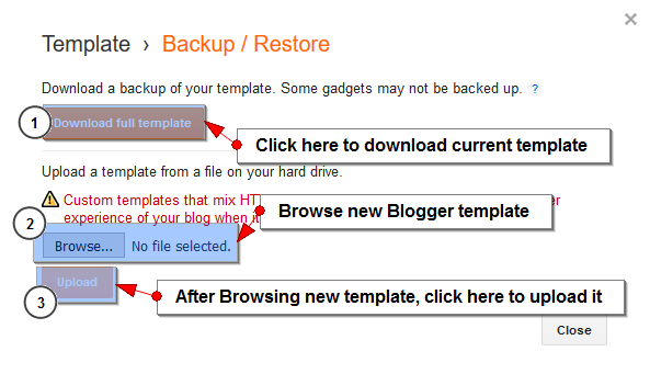 How to backup Blogger template and restore it