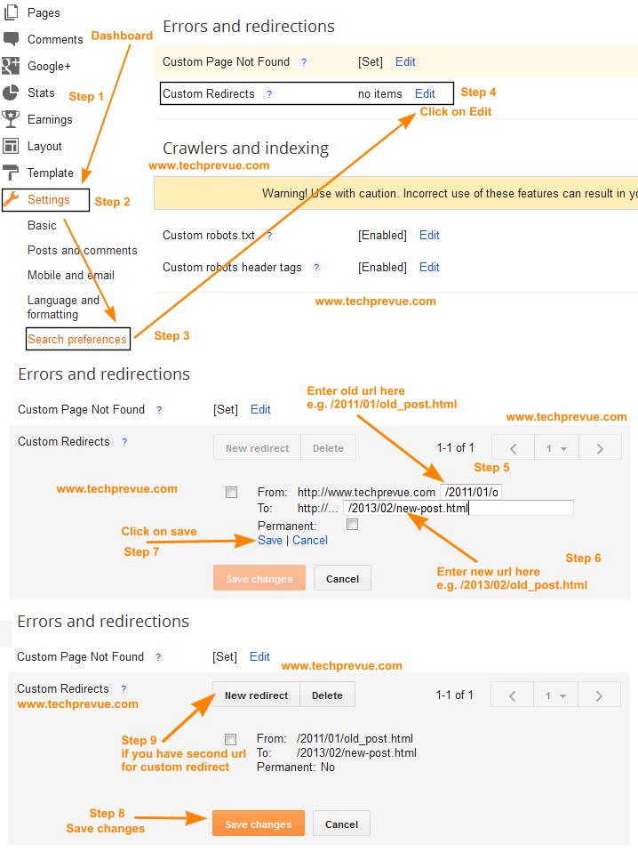 Blogger Custom Redirects