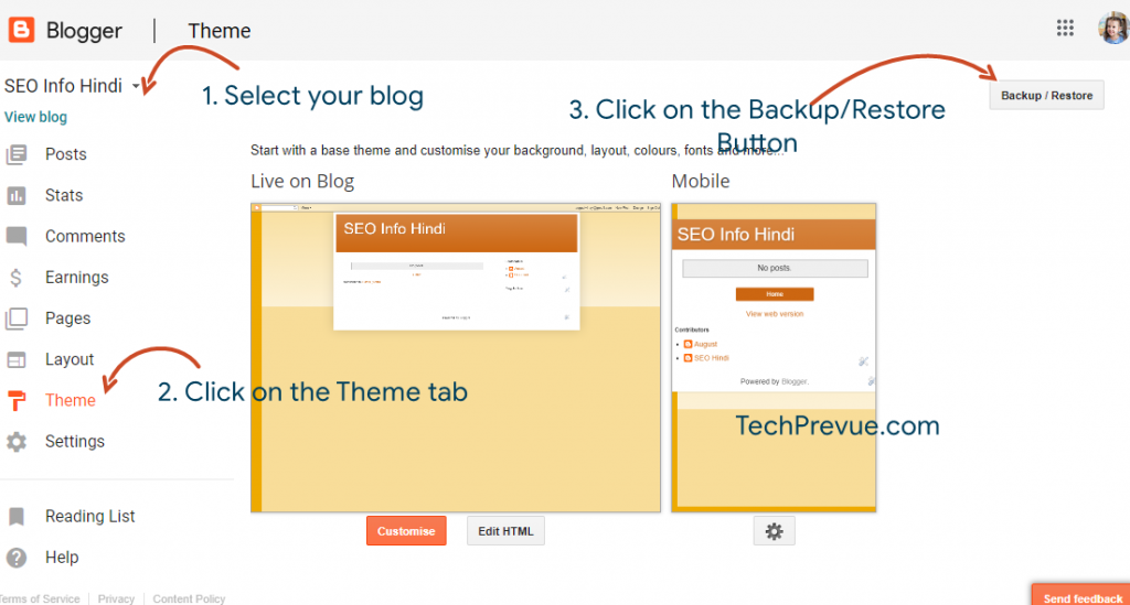 Steps to take a backup of theme on Blogspot/Blogger?