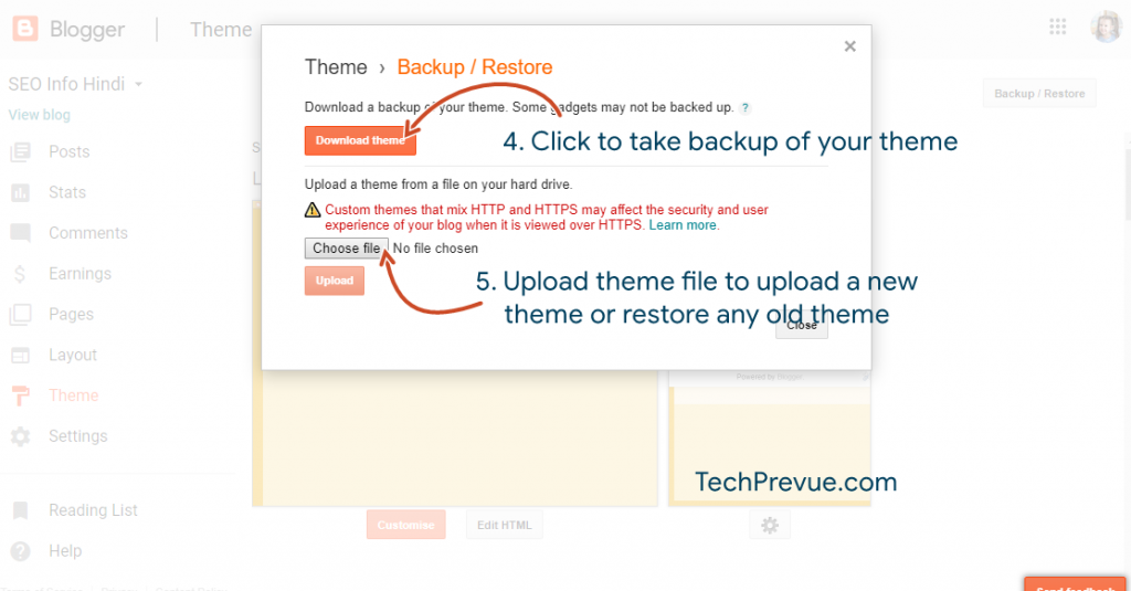 Steps to upload a theme on Blogspot/Blogger