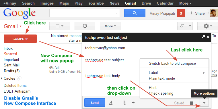 Disable Gmail New Compose