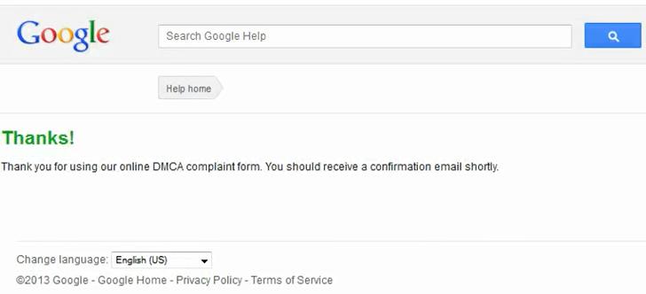 DMCA Complaints Thanks Page