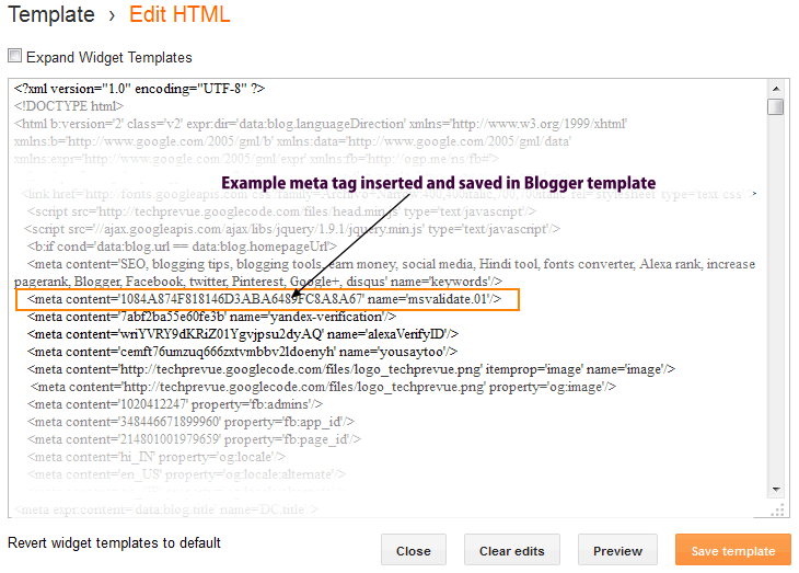 Bing Webmaster Tools - meta tag in blogger template