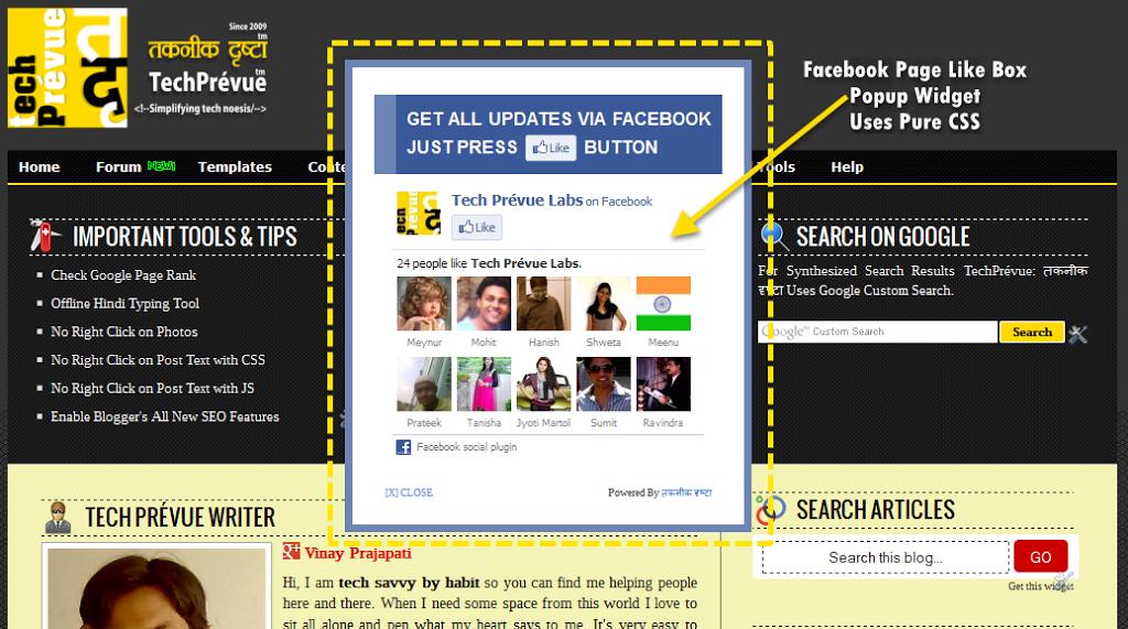 Facebook Page Like Box Popup Widget