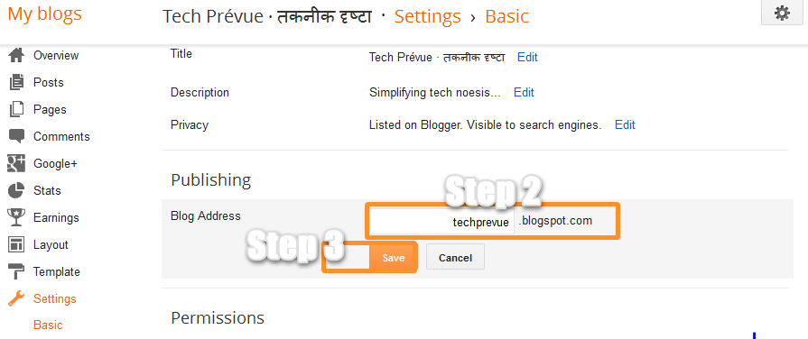 Change Blog URL in Blogger Step 2 and Step 3