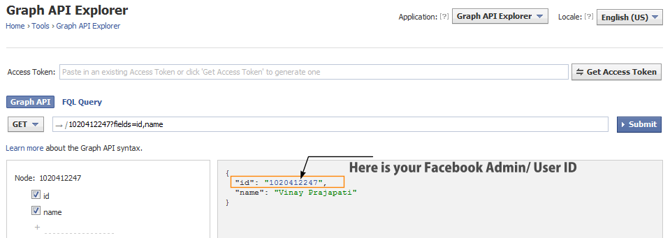 Get Facebook Admin ID Using Explorer Tool