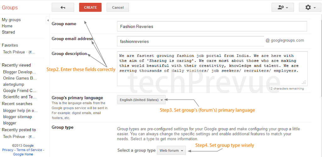 Customize and Create Google group