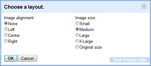 Blogger - Image Alignment - Size Options