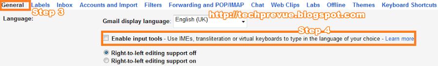 Enable Google Input Tools Check Box