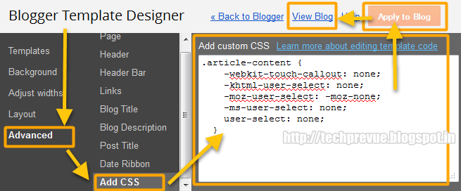 Disable Text Selection (Post Copying) in Blogger Dynamic Views