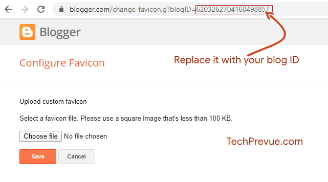 Configure favicon- Upload custom favicon on Blogspot