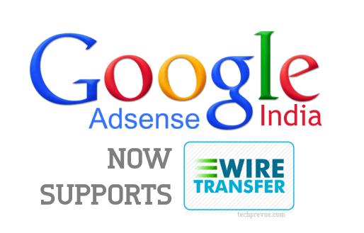 Google AdSense wire transfer India