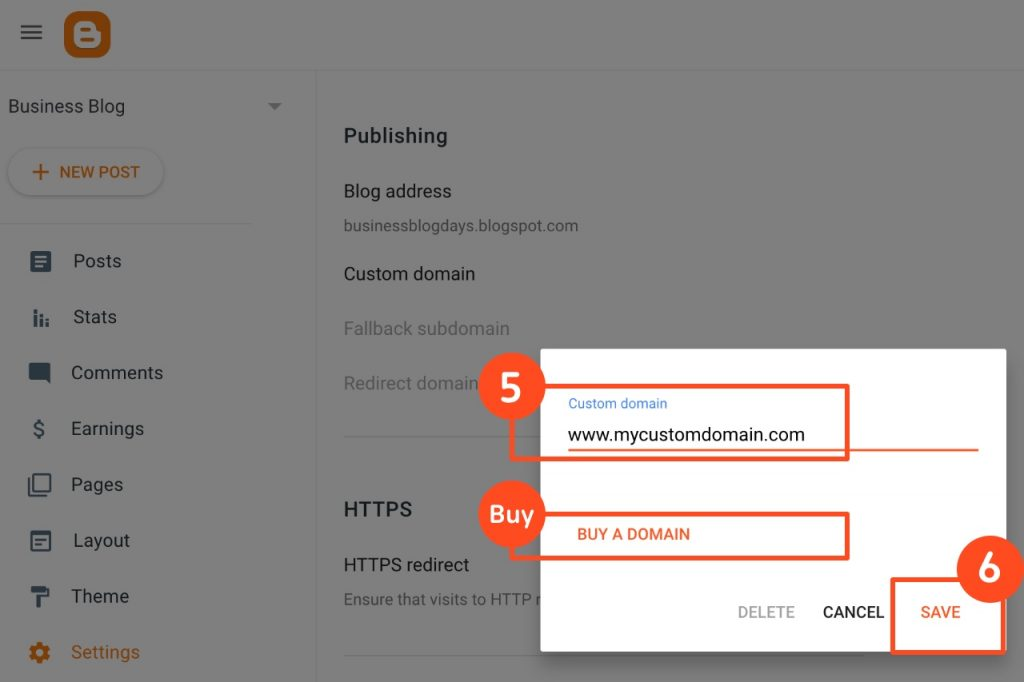 Blogger custom domain - Enter a custom domain > Save