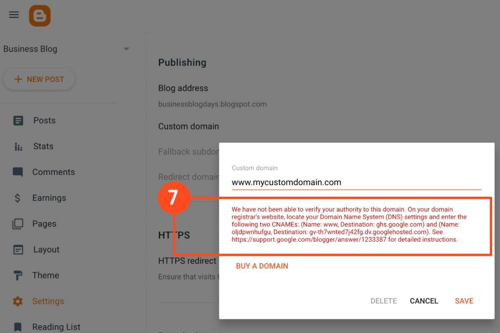 Blogspot custom domain > CNAMEs