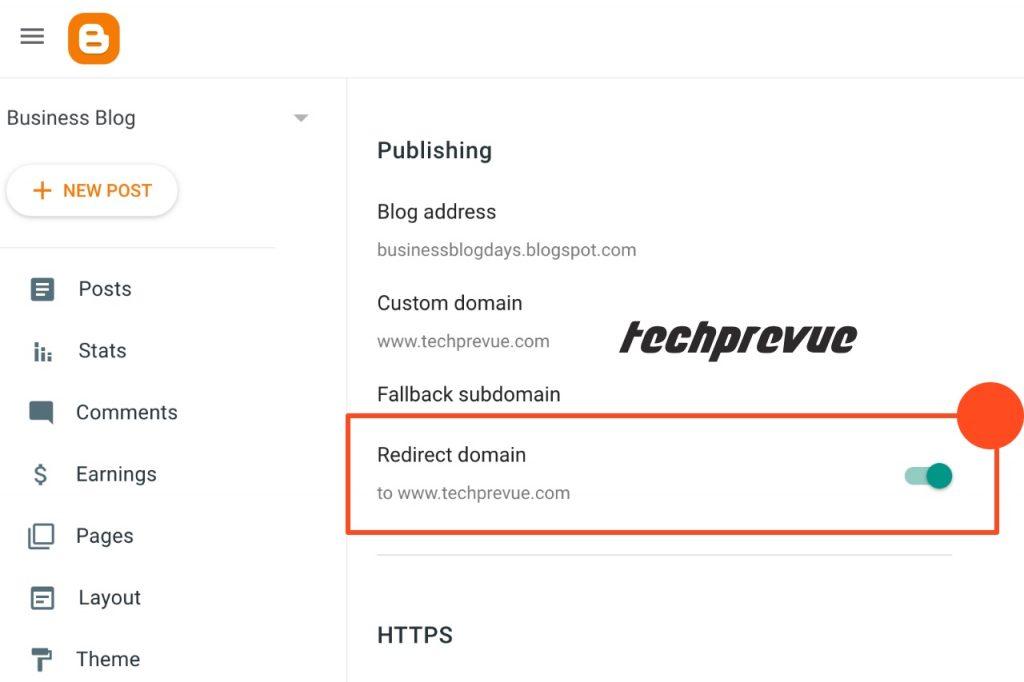 Blogspot custom domain > Redirect domain