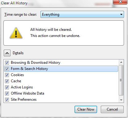 Clear browsing history firefox