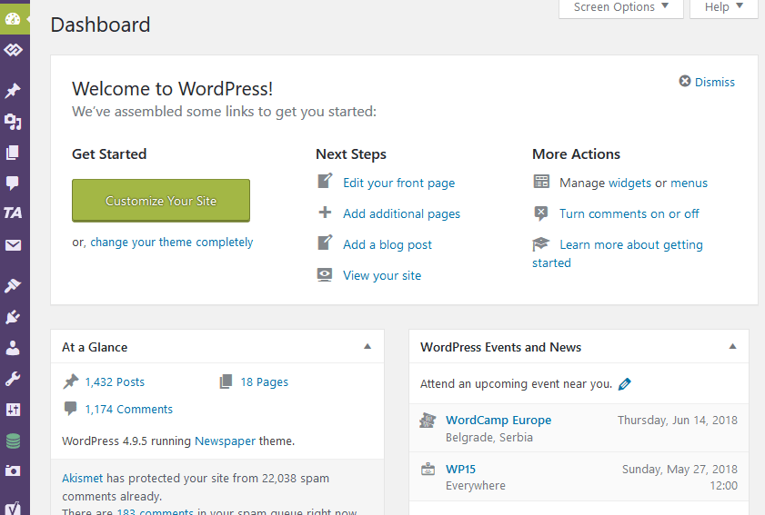 Welcome to WordPress Admin Panel