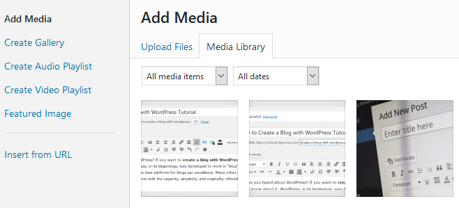 WordPress add media