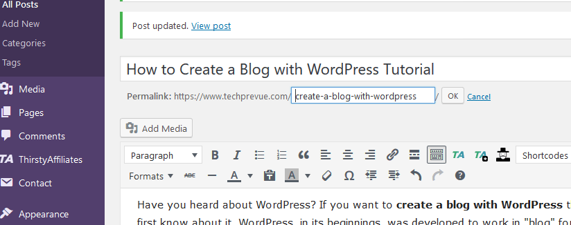 WordPress post permalink