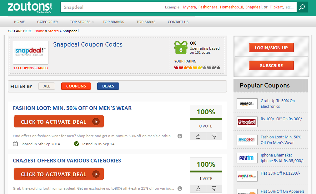 Free discount coupons for snapdeal