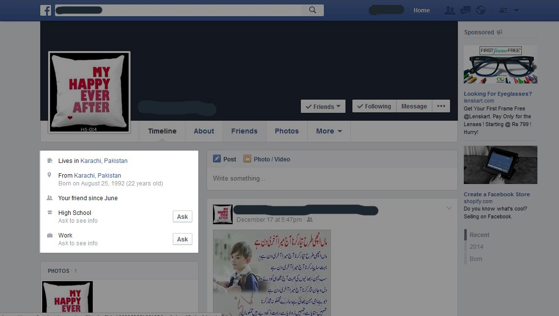 Fake Facebook Profile About Section