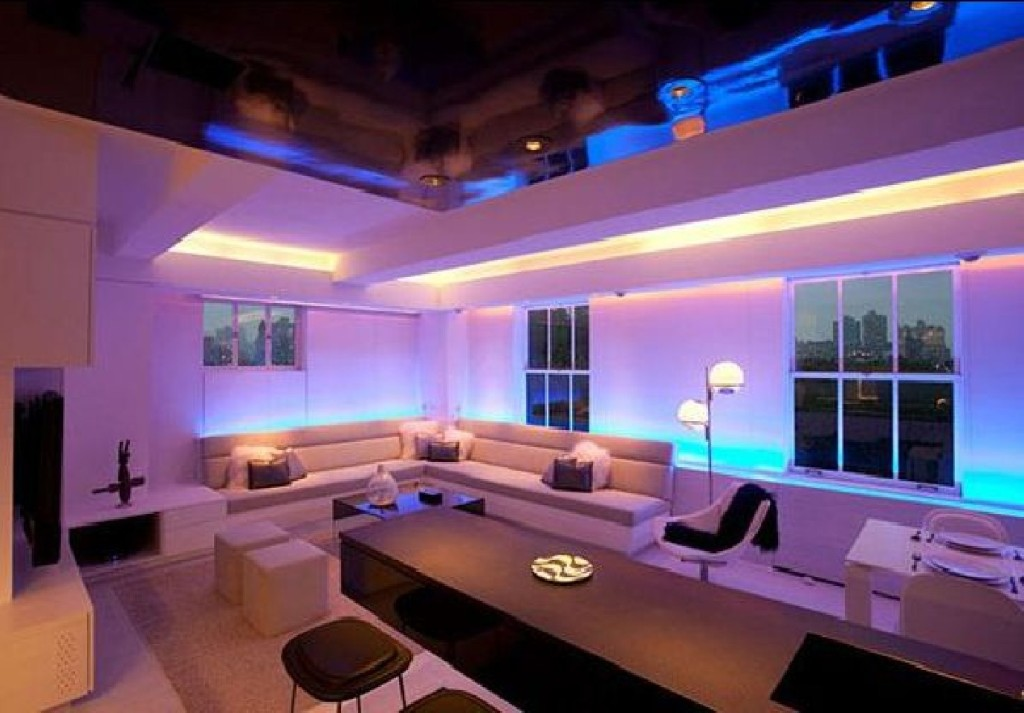 modern apartment, furniture design, interior decor and mood lighting