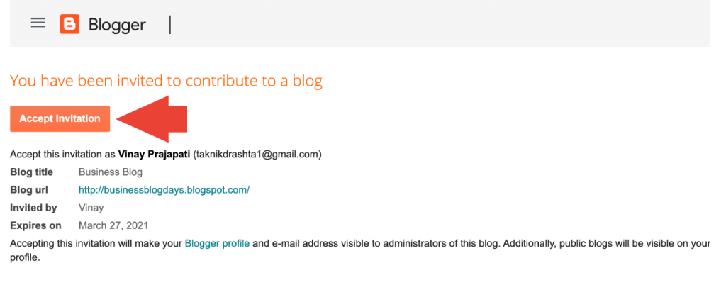 An invitee accepts invitation to contribute a blog