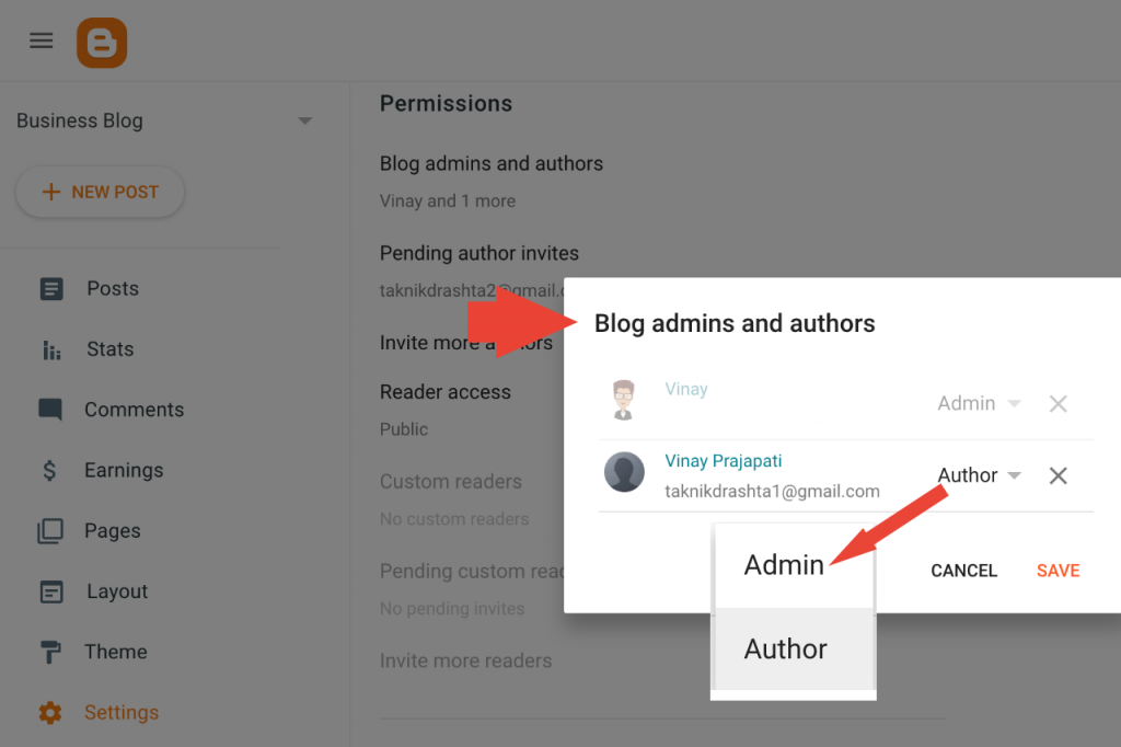 Manage blog admins and authors