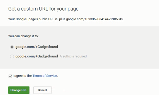 google plus page custom url