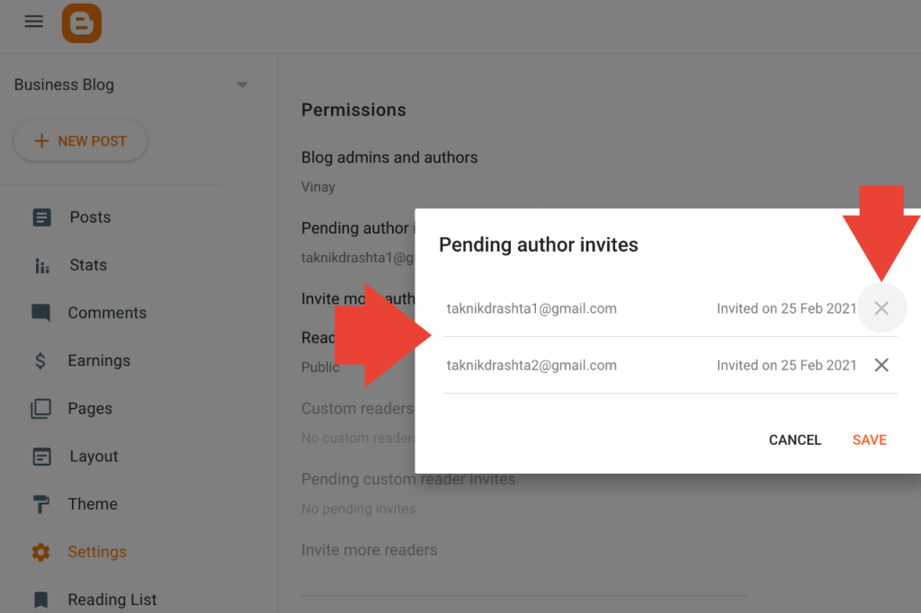 Manage invited authors to Blogspot