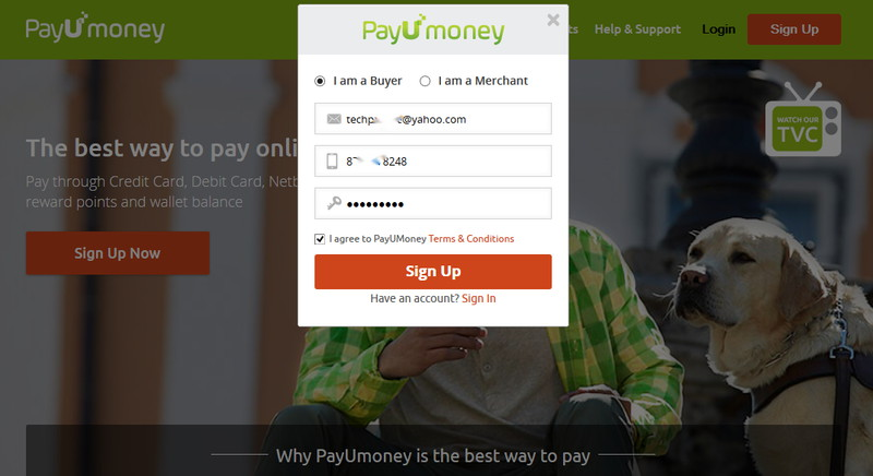 payumoney sign up