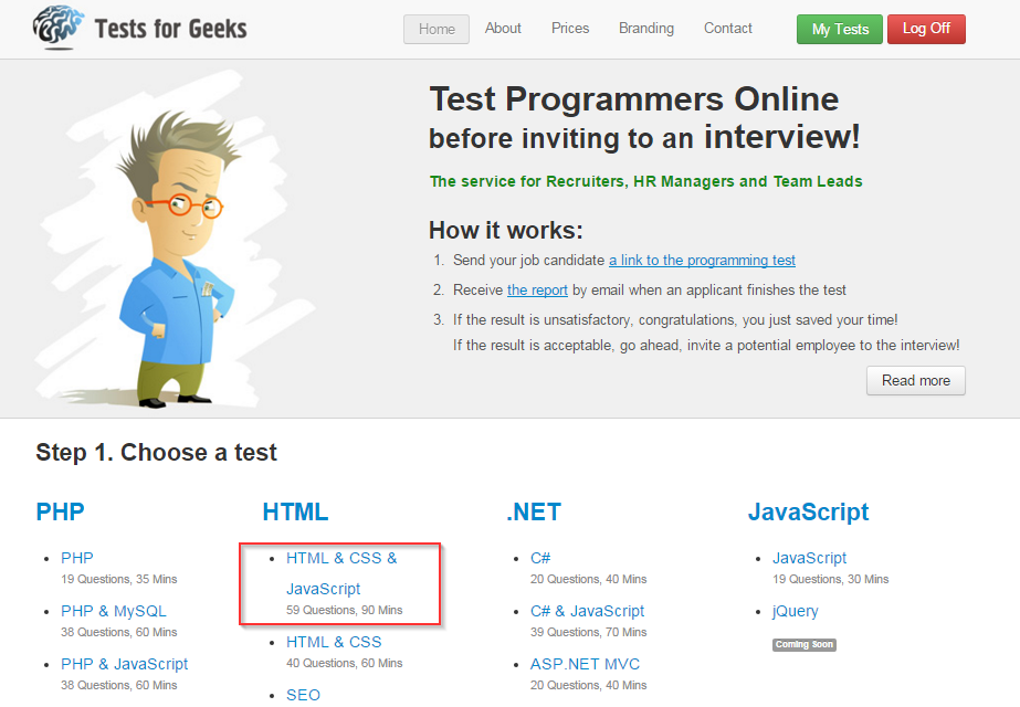 Hire Front-end Developers for New IT startup, Test HTML/CSS and