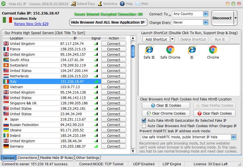 Hide All IP Servers 45