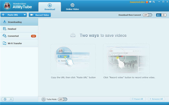 Wondershare AllmyTube Main Interface