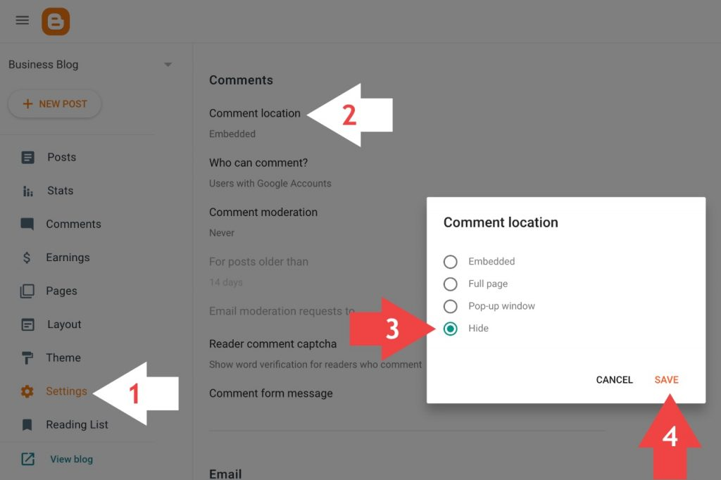 How to disable comment box on blogspot