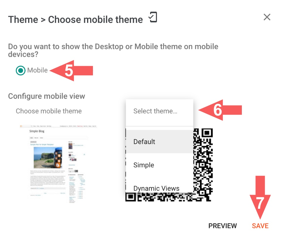 Enable Blogger mobile template theme