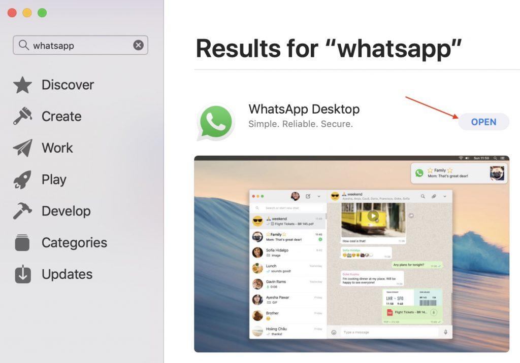 Launch WhatsApp Desktop on Mac