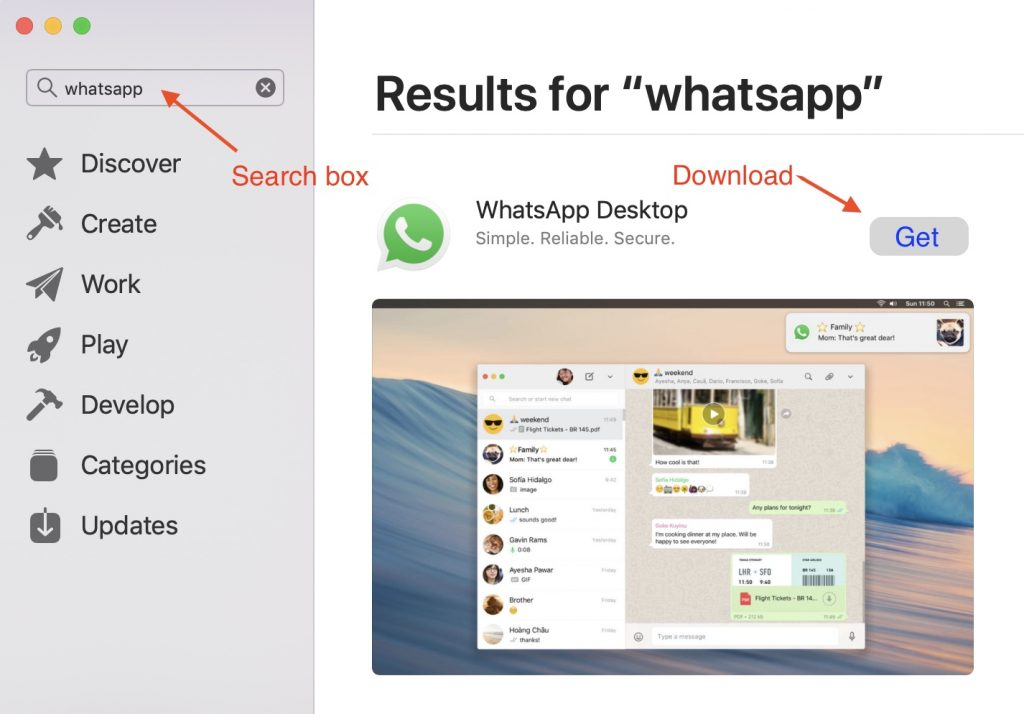 Download WhatsApp Desktop from Apple App Store
