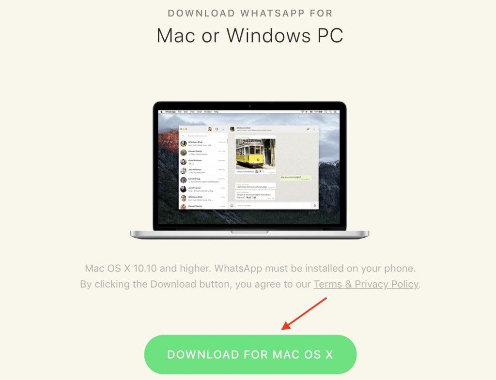 Download WhatsApp Desktop for Mac from Official website