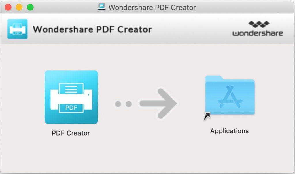 Install Wondershare PDF creator for Mac