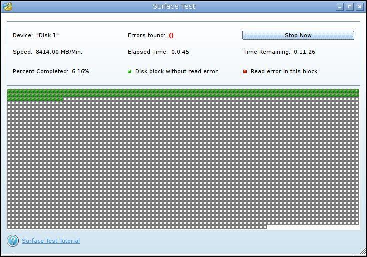 Hard disk surface test