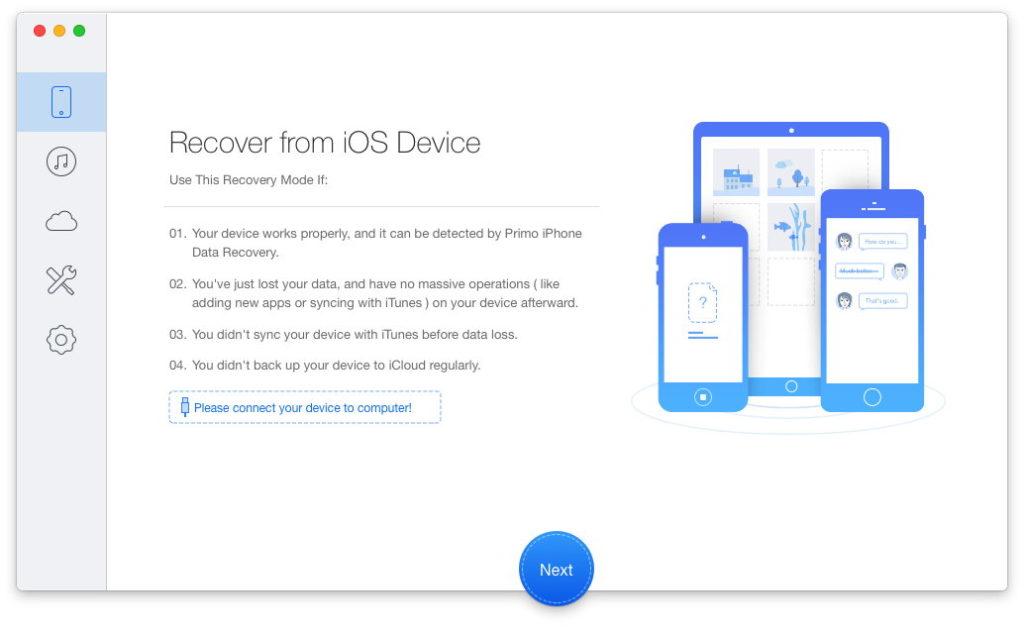 Primo iPhone Data Recovery Menu