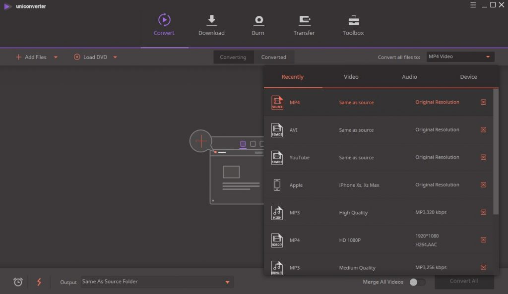 Wondershare UniConverter Ultimate Convert Options