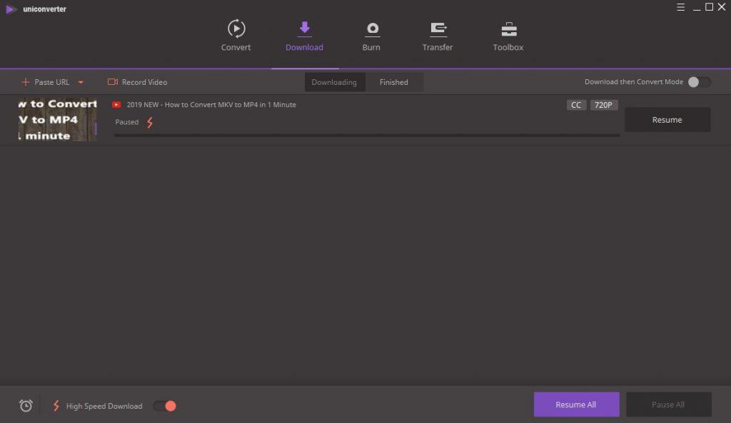 Wondershare UniConverter Ultimate Download Options