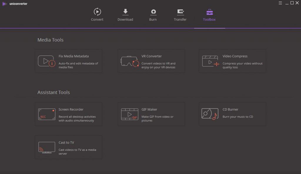 Wondershare UniConverter Ultimate Toolbox Options