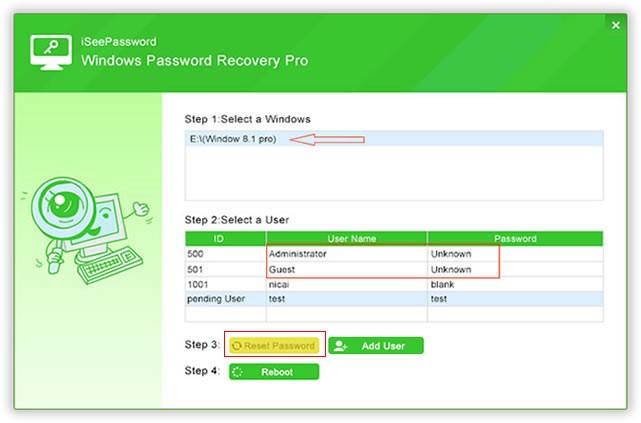 iSeePassword Windows Password Recovery Pro Reset Password